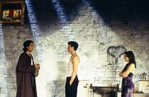l-r: Clive Owen (Otto), Paul Rhys (Leo), Rachel Weisz (Gilda) in DESIGN FOR LIVING by Noel Coward at the Donmar Warehouse, London WC2 06/09/1994 design: Stephen Brimson Lewis lighting: Mark Henderson...