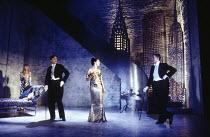 l-r: Jan de Villeneuve (Grace Torrence), Paul Rhys (Leo), Rachel Weisz (Gilda), Clive Owen (Otto) in DESIGN FOR LIVING by Noel Coward at the Donmar Warehouse, London WC2 06/09/1994 design: Stephen Bri...