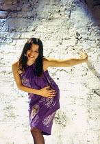 Rachel Weisz (Gilda) in DESIGN FOR LIVING by Noel Coward at the Donmar Warehouse, London WC2 06/09/1994 design: Stephen Brimson Lewis lighting: Mark Henderson director: Sean Mathias