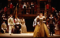 left: Anthony Rolfe-Johnson (The Earl of Essex) front right: Sarah Walker (Queen Elizabeth I) in GLORIANA by Benjamin Britten at English National Opera (ENO), London Coliseum WC2 12/03/1984 (Royal Gal...