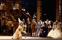 Sarah Walker (Queen Elizabeth I - seated, right) watches a Courtly Dance at the Palace of Whitehall in GLORIANA by Benjamin Britten at English National Opera (ENO), London Coliseum WC2 12/03/1984 (Roy...