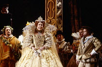 l-r: Stuart Kale (The Spirit of the Masque), Sarah Walker (Queen Elizabeth I), Anthony Rolfe-Johnson (The Earl of Essex) in GLORIANA by Benjamin Britten at English National Opera (ENO), London Coliseu...