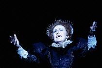 Sarah Walker (Queen Elizabeth I) in GLORIANA by Benjamin Britten at English National Opera (ENO), London Coliseum WC2 12/03/1984 (Royal Gala) conductor: Mark Elder design: Alix Stone director: Colin G...