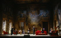 l-r: David Rendall (Flamand), William Shimell (Olivier), Lillian Watson (An Italian Soprano), Bonaventura Bottone (An Italian Tenor), Roderick Earle (Major-Domo), Anne Howells (Clairon), Thomas Allen...
