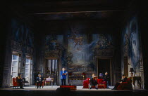 l-r: Kiri Te Kanawa (The Countess Madeleine), David Rendall (Flamand), Thomas Allen (The Count), Anne Howells (Clairon), Roderick Earle (Major-Domo), William Shimell (Olivier) in CAPRICCIO at The Roya...