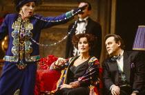 l-r: Lillian Watson (An Italian Soprano), Kiri Te Kanawa (The Countess Madeleine), David Rendall (Flamand) in CAPRICCIO at The Royal Opera, Covent Garden, London WC2 26/01/1991 music: Richard Strauss...