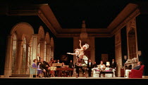 front left: Kiri Te Kanawa (The Countess), Victor von Halem (La Roche) centre: Alla Martinkevitch (dancer), Michael Hodges (dancer) right: Rodney Gilfrey (The Count), Gerald Finley (Olivier) in CAPRIC...