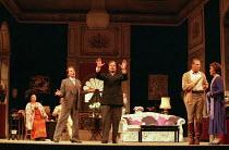 l-r: Jennifer Rhys-Davies (An Italian Soprano), Richard Croft (Flamand), Victor von Halem (La Roche), Rodney Gilfrey (The Count), Kiri Te Kanawa (The Countess) in CAPRICCIO at Glyndebourne Festival Op...