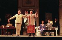 l-r: Victor von Halem (La Roche), Bonaventura Bottone (An Italian Tenor), Jennifer Rhys-Davies (An Italian Soprano), Kiri Te Kanawa (The Countess), Richard Croft (Flamand) in CAPRICCIO at Glyndebourne...