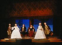 l-r: William Shimell (Guglielmo), Karita Mattila (Fiordiligi), Walter Berry (Don Alfonso), Lillian Watson (Despina), Anne Sophie von Otter (Dorabella), John Aler (Ferrando) in COSI FAN TUTTE by Mozart...