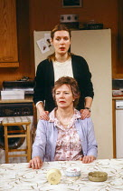 Susan Wooldridge (Jessie Cates - standing), Marjorie Yates (Thelma Cates - seated) in NIGHT MOTHER by Marsha Norman at the Hampstead Theatre, London NW3 21/02/1985 design: Sue Plummer lighting: Mick H...