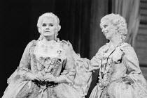 l-r; Karita Mattila (Fiordiligi), Anne Sophie von Otter (Dorabella) in COSI FAN TUTTE by Mozart at the Royal Opera, Covent Garden, London WC2 12/07/1986 music: Wolfgang Amadeus Mozart libretto: Lorenz...