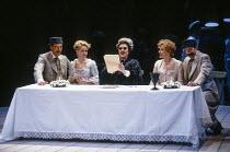 l-r: Kurt Streit (Ferrando), Amanda Roocroft (Fiordiligi), Gianna Rolandi (Despina - disguised as a notary), Suzanne Johnston (Dorabella), Jake Gardner (Guglielmo) in COSI FAN TUTTE by Mozart at Glynd...