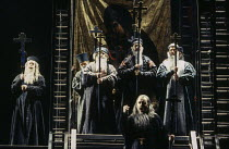 front centre: Gwynne Howell (Dosifey) with fellow Old Believers in KHOVANSHCHINA performed by English National Opera (ENO) at the London Coliseum, London WC2 24/11/1994 music & libretto: Modest Mussor...