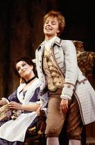 l-r: Yvonne Kenny (Susanna), Anne Sophie von Otter (Cherubino) in LE NOZZE DI FIGARO at The Royal Opera, Covent Garden, London WC2 09/12/1985 music: Wolfgang Amadeus Mozart libretto: Lorenzo Da Ponte...