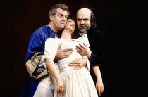 l-r: Thomas Allen (Count Almaviva), Marie McLaughlin (Susanna), Robert Tear (Don Basilio) in LE NOZZE DI FIGARO at The Royal Opera, Covent Garden, London WC2 18/12/1991 music: Wolfgang Amadeus Mozart...