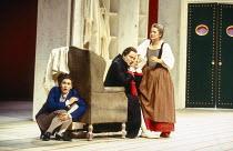 l-r: Marie-Ange Todorovitch (Cherubino), Andreas Schmidt (Count Almaviva), Alison Hagley (Susanna) in LE NOZZE DI FIGARO at Glyndebourne Festival Opera, East Sussex, England 28/05/1994 music: Wolfgang...