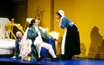 l-r: Christine Botes (Cherubino), Anthony Michaels-Moore (Count Almaviva), Cathryn Pope (Susanna) in FIGARO'S WEDDING at English National Opera (ENO), London Coliseum, London WC2 30/10/1991 music: Wo...