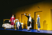 l-r: John Graham Hall (Don Basilio), Anthony Michaels-Moore (Count Almaviva), Bryn Terfel (Figaro), Christine Botes (Cherubino) in FIGARO'S WEDDING at English National Opera (ENO), London Coliseum, Lo...