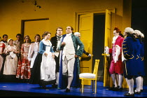 centre, l-r: Cathryn Pope (Susanna), Bryn Terfel (Figaro), Anthony Michaels-Moore (Count Almaviva) right: John Graham Hall (Don Basilio) in FIGARO'S WEDDING at English National Opera (ENO), London Col...