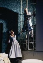 l-r: Cathryn Pope (Susanna), Christine Botes (Cherubino) in FIGARO'S WEDDING at English National Opera (ENO), London Coliseum, London WC2 30/10/1991 music: Wolfgang Amadeus Mozart libretto: Lorenzo D...