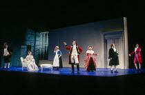 l-r: Bryn Terfel (Figaro), Joan Rodgers (Countess Almaviva), Cathryn Pope (Susanna), Anthony Michaels-Moore (Count Almaviva). Eiddwen Harrhy (Marcellina), Donald Adams (Doctor Bartolo), John Graham Ha...