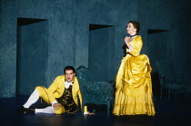 Act 4 - 'invisible' in the 'dark': Bryn Terfel (Figaro), Cathryn Pope (Susanna - disguised as the Countess) in FIGARO'S WEDDING at English National Opera (ENO), London Coliseum, London WC2 30/10/1991...