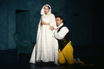 Act 4 - 'invisible' in the 'dark' -begging forgiveness: Bryn Terfel (Figaro), Cathryn Pope (Susanna - disguised as the Countess) in FIGARO'S WEDDING at English National Opera (ENO), London Coliseum, L...