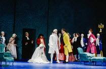 Act 4 final scene - centre, l-r: Cathryn Pope (Susanna), Anthony Michaels-Moore (Count Almaviva), Bryn Terfel (Figaro) right: Donald Adams (Doctor Bartolo), John Graham Hall (Don Basilio) in FIGARO'S...