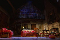 BLITHE SPIRIT by Noel Coward design: Anthony Ward lighting: Howard Harrison director: Richard Eyre whole stage, whole set, interior, drawing room, living room, furniture, paintings, books, fireplace,...