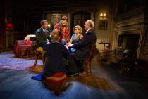 the seance - clockwise from left: Geoffrey Streatfield (Charles Condomine), Jennifer Saunders (Madame Arcati), Lisa Dillon (Ruth Condomine), Simon Coates (Dr Bradman), (back to camera) Lucy Robinson (...