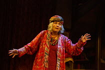 Jennifer Saunders (Madame Arcati) in BLITHE SPIRIT by Noel Coward opening at the Harold Pinter Theatre, London SW1 on 21/09/2021 a Theatre Royal Bath production design: Anthony Ward lighting: Howard H...