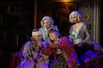 l-r: Rose Wardlaw (Edith), Lisa Dillon (Ruth Condomine), Jennifer Saunders (Madame Arcati), Madeleine Mantock (Elvira) in BLITHE SPIRIT by Noel Coward opening at the Harold Pinter Theatre, London SW1...