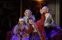 l-r: Rose Wardlaw (Edith), (rear) Lisa Dillon (Ruth Condomine), Jennifer Saunders (Madame Arcati), Madeleine Mantock (Elvira) in BLITHE SPIRIT by Noel Coward opening at the Harold Pinter Theatre, Lond...
