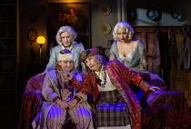 front, l-r: Rose Wardlaw (Edith), Jennifer Saunders (Madame Arcati) rear: Lisa Dillon (Ruth Condomine), Madeleine Mantock (Elvira) in BLITHE SPIRIT by Noel Coward opening at the Harold Pinter Theatre,...