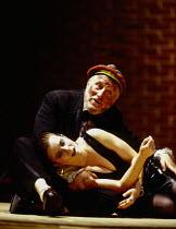 Christine Schafer (Lulu), Norman Bailey (Schigolch) in LULU at Glyndebourne Festival Opera, East Sussex, England 15/07/1996 music: Alban Berg libretto: Alban Berg after 'Erdgeist' & 'Die Buchse der Pa...