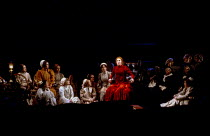 Josephine Barstow (Senta - in red) in THE FLYING DUTCHMAN at English National Opera (ENO), London Coliseum, London WC2 02/1982 music & libretto: Richard Wagner conductor: Mark Elder design: Stefanos L...