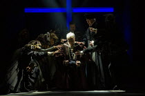 haunted by ghosts and apparitions - centre, l-r: Ben Miles (Thomas Cromwell), Giles Taylor (Archbishop Thomas Cranmer) in THE MIRROR AND THE LIGHT at the Gielgud Theatre, London W1 06/10/2021 adapted...