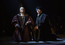 l-r: Ben Miles (Thomas Cromwell), Giles Taylor (Archbishop Thomas Cranmer) in THE MIRROR AND THE LIGHT at the Gielgud Theatre, London W1 06/10/2021 adapted from her novel by Hilary Mantel & Ben Miles...