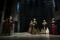 l-r: Ben Miles (Thomas Cromwell), Jo Herbert (Jane, Lady Rochford), Rosanna Adams (Anna), Aurora Dawson-Hunte (Elizabeth Seymour), Olivia Marcus (Katherine Howard) in THE MIRROR AND THE LIGHT at the G...