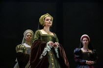 l-r: Aurora Dawson-Hunte (Elizabeth Seymour), Rosanna Adams (Anna), Olivia Marcus (Katherine Howard) in THE MIRROR AND THE LIGHT at the Gielgud Theatre, London W1 06/10/2021 adapted from her novel by...