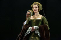 l-r: Jo Herbert (Jane, Lady Rochford), Rosanna Adams (Anna) in THE MIRROR AND THE LIGHT at the Gielgud Theatre, London W1 06/10/2021 adapted from her novel by Hilary Mantel & Ben Miles music: Stephen...