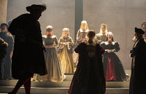 l-r: Nathaniel Parker (King Henry VIII), Rosanna Adams (Anna), Giles Taylor (Archbishop Thomas Cranmer) in THE MIRROR AND THE LIGHT at the Gielgud Theatre, London W1 06/10/2021 adapted from her novel...