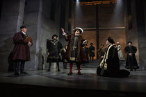 front, l-r: Ben Miles (Thomas Cromwell), Nathaniel Parker (King Henry VIII), Giles Taylor (Archbishop Thomas Cranmer) in THE MIRROR AND THE LIGHT at the Gielgud Theatre, London W1 06/10/2021 adapted f...