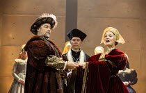 l-r: Nathaniel Parker (King Henry VIII), Giles Taylor (Archbishop Thomas Cranmer), Rosanna Adams (Anna) in THE MIRROR AND THE LIGHT at the Gielgud Theatre, London W1 06/10/2021 adapted from her novel...