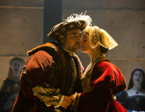newly wed: Nathaniel Parker (King Henry VIII), Rosanna Adams (Anna) in THE MIRROR AND THE LIGHT at the Gielgud Theatre, London W1 06/10/2021 adapted from her novel by Hilary Mantel & Ben Miles music:...