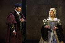 Ben Miles (Thomas Cromwell), Aurora Dawson-Hunte (Elizabeth Seymour) in THE MIRROR AND THE LIGHT at the Gielgud Theatre, London W1 06/10/2021 adapted from her novel by Hilary Mantel & Ben Miles music:...