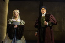 Aurora Dawson-Hunte (Elizabeth Seymour), Ben Miles (Thomas Cromwell) in THE MIRROR AND THE LIGHT at the Gielgud Theatre, London W1 06/10/2021 adapted from her novel by Hilary Mantel & Ben Miles music:...
