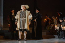 l-r: Ben Miles (Thomas Cromwell), Nathaniel Parker (King Henry VIII), Giles Taylor (Archbishop Thomas Cranmer) in THE MIRROR AND THE LIGHT at the Gielgud Theatre, London W1 06/10/2021 adapted from her...
