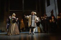 Jo Herbert (Jane, Lady Rochford - with dead infant heir), Nathaniel Parker (King Henry VIII) in THE MIRROR AND THE LIGHT at the Gielgud Theatre, London W1 06/10/2021 adapted from her novel by Hilary M...